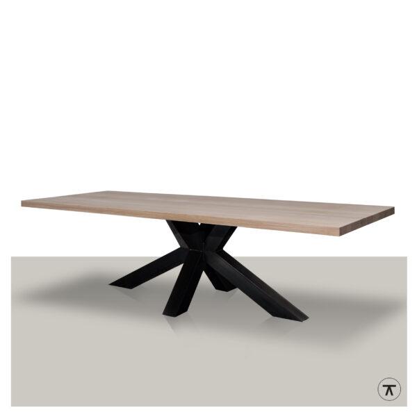 Moderne-eettafel-massief-eiken-blad-met-matrix-onderstel-10x10