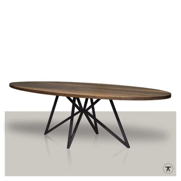 Ovale-eettafel-eikenhout-blad-smoked-met-metalen-vlinder-onderstel