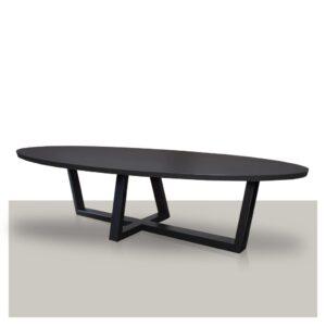 Ovale eettafel schuin kruis metalen onderstel zwart eikenhout blad Van Tafel