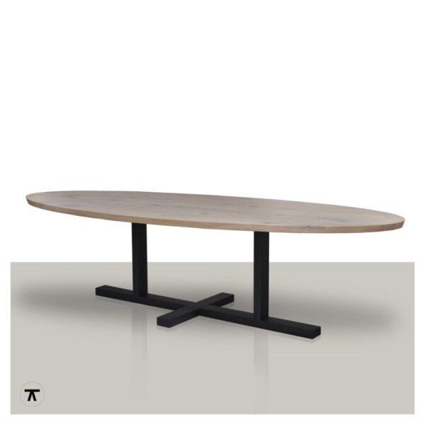 Ovale-eettafel-zeep-eikenhouten-tafelblad-met-metalen-H-onderstel