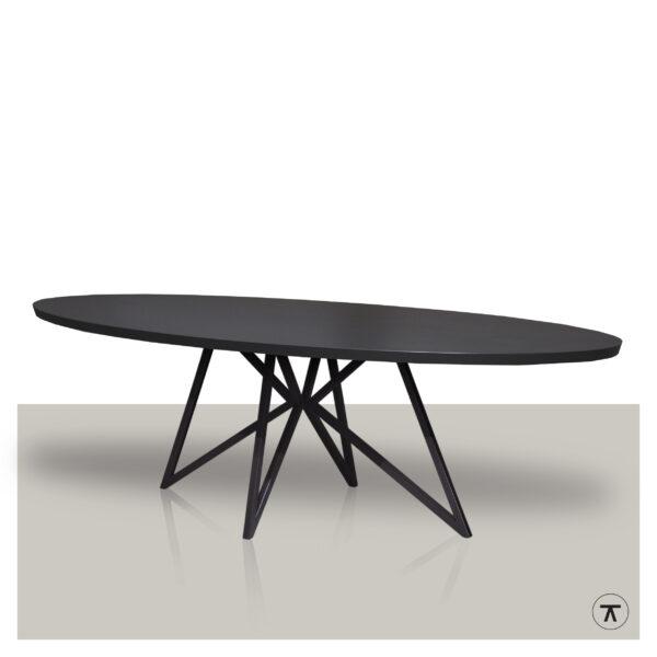 Ovale-eettafel-zwart-eikenhout-blad-met-metalen-vlinder-onderstel
