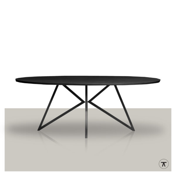 Ovale-eettafel-zwart-eikenhout-blad-met-zwart-metalen-vlinder-onderstel