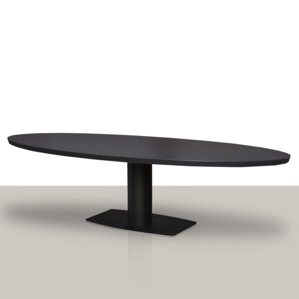 Ovale eettafel van zwart eikenhout met een metalen kolom onderstel Van Tafel.