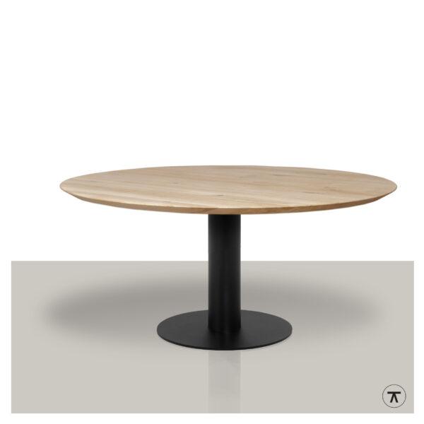 Ronde-eettafel-massief-eikenblad-met-rond-metalen-kolom-onderstel