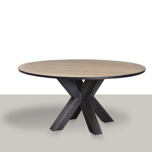Ronde eettafel met metalen matrix (koker 10×10) onderstel en het massief eikenblad met zwarte rand.
