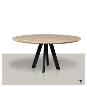 Ronde-eettafel-metalen-4-poot-onderstel-massief-eikenblad