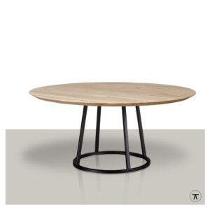 Ronde eettafel met metalen trapeze rond onderstel en een massief blank eikenblad.