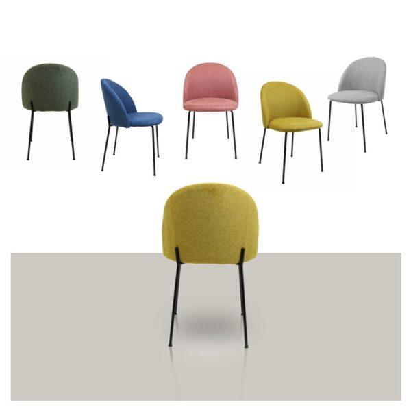 Comfortabele stoffen eetkamerstoel Noa van Kick in diverse kleuren