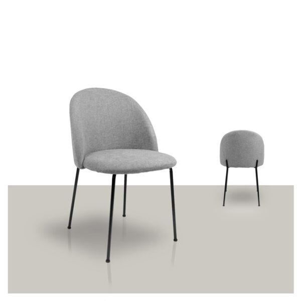 Comfortabele stoffen grijze eetkamerstoel van Kick Van Tafel