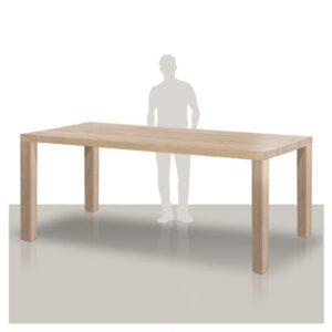 Eiken houten bartafel met een stoere houten onderstel met de poten op de hoeken Van Tafel.-hoek