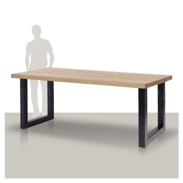 Industriële bartafel van eikenhout met stoere metalen U onderstel.