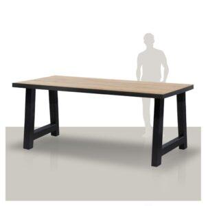 Industriële bartafel met zwarte rand en een stoere metalen A onderstel Van Tafel.