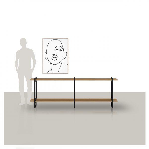 lage wandkast met eikenhouten planken en een metalen frame op maat gemaakt Van Tafel