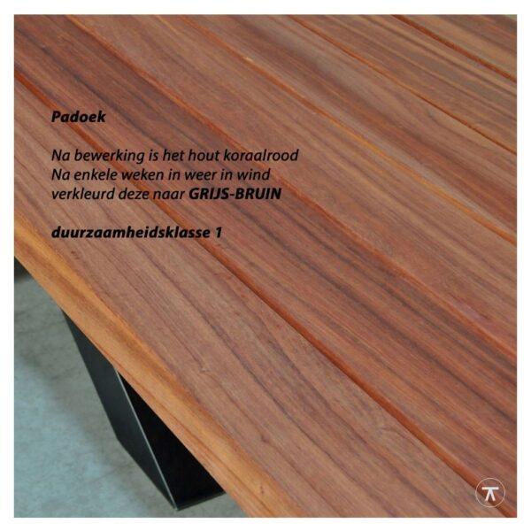 padoek houten buitentafel bladkleur