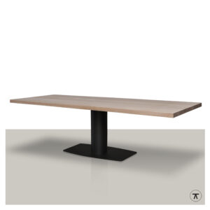 Rechthoekige-houten-eettafel-met-metalen-poot-in-het-midden