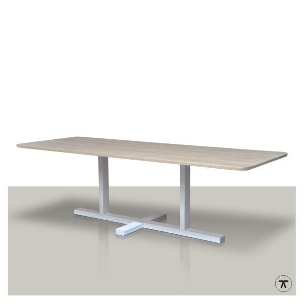 Rechthoekige-houten-eettafel-met-plat-kruis-onderstel-wit