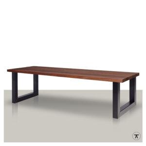 padoek houten buitentafel met metalen U poot
